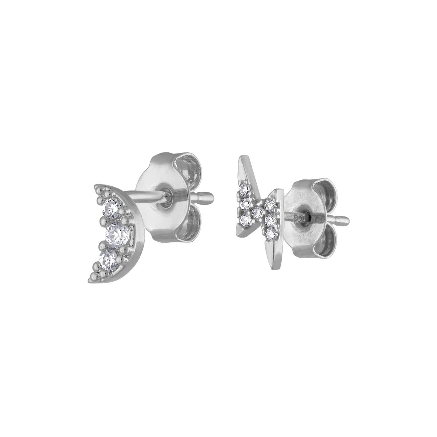 Pave Moon and Lightning Studs in Sterling Silver at Maison Miru Jewelry @maisonmiru