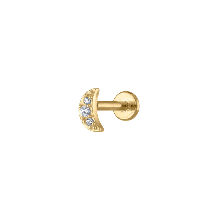 Pave Moon Threaded Flat Back Earring at Maison Miru Jewelry @maisonmiru