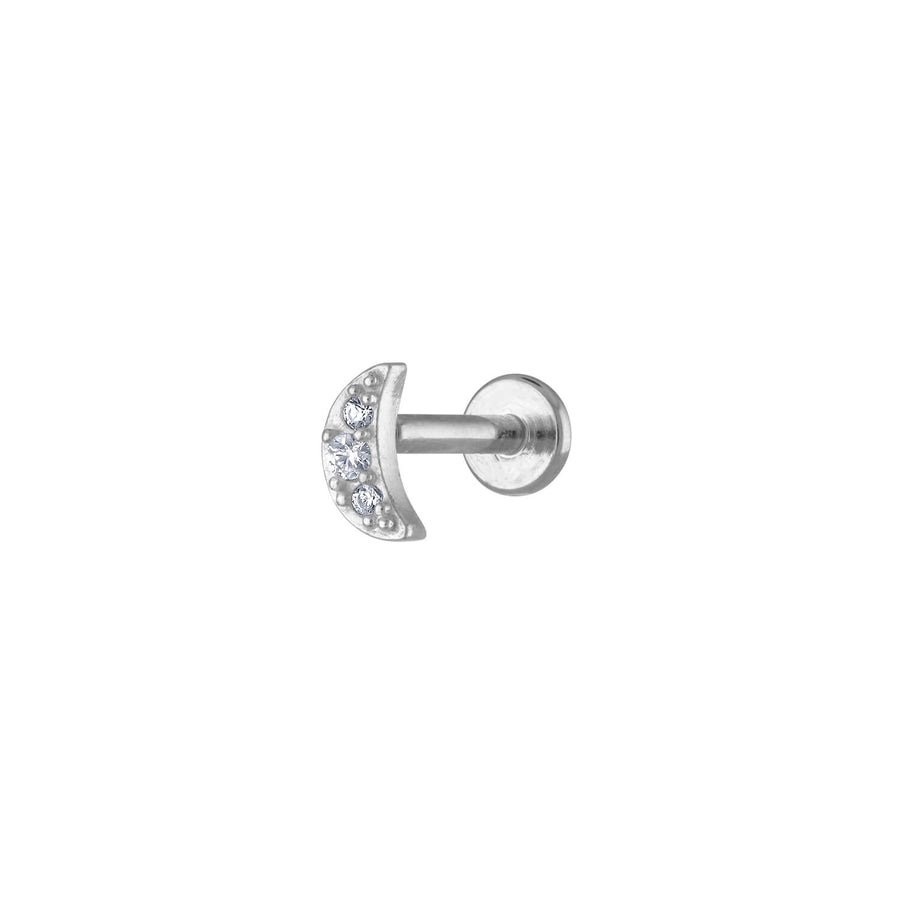 Pave Moon Threaded Flat Back Earring in Silver