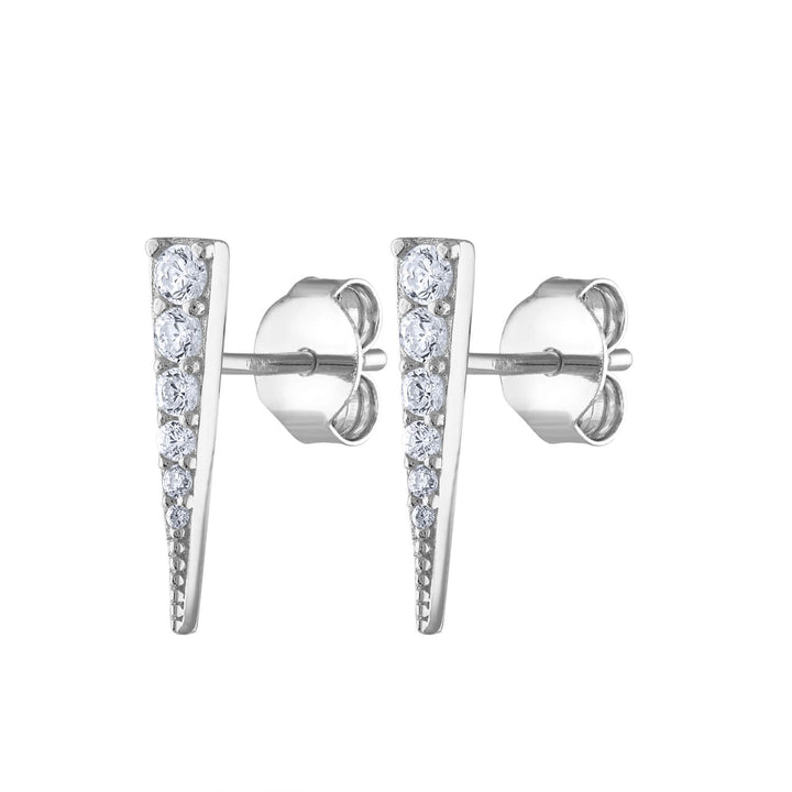 Pave Spike Studs in Sterling Silver