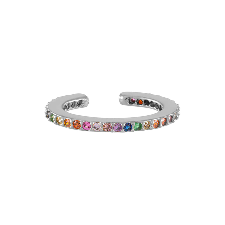 Rainbow Eternity Ear Cuff in Sterling Silver at Maison Miru Jewelry @maisonmiru