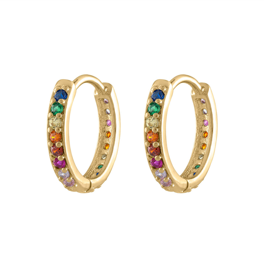 Rainbow Eternity Hoop Earrings at Maison Miru Jewelry @maisonmiru