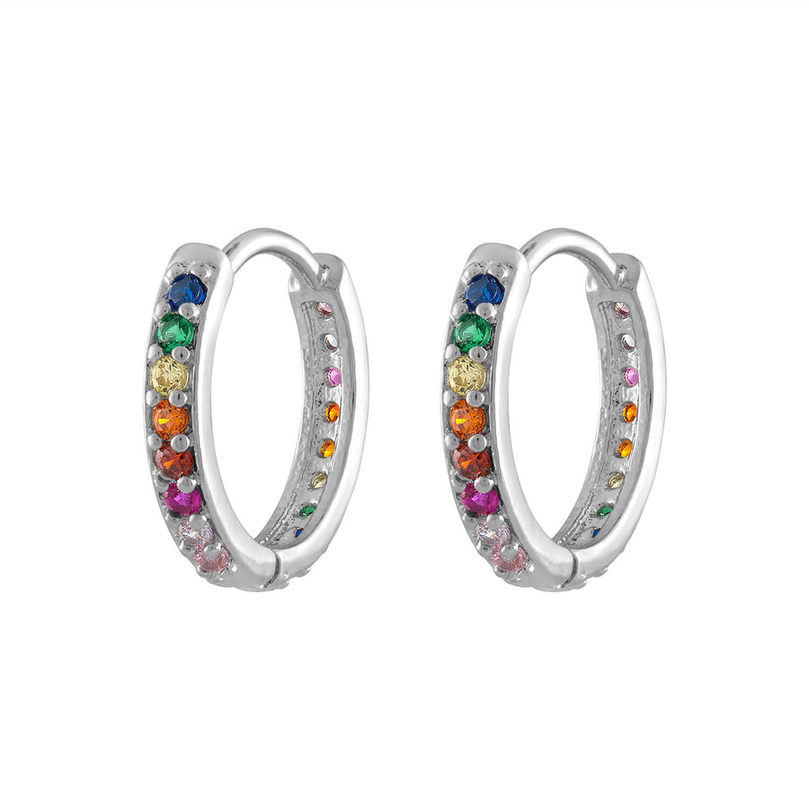 Rainbow Eternity Hoop Earrings in Sterling Silver