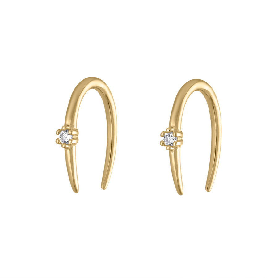 Shooting Star Open Hoops in 14K Gold