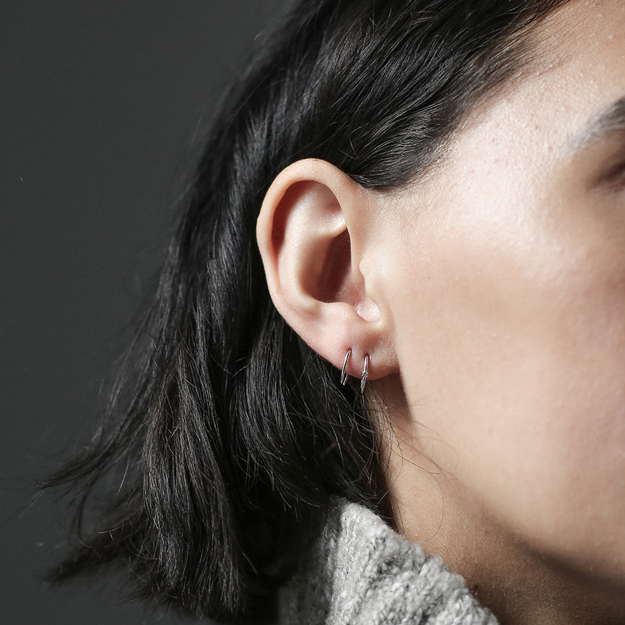 Shooting Star Open Hoop Earrings in Sterling Silver at Maison Miru Jewelry @maisonmiru