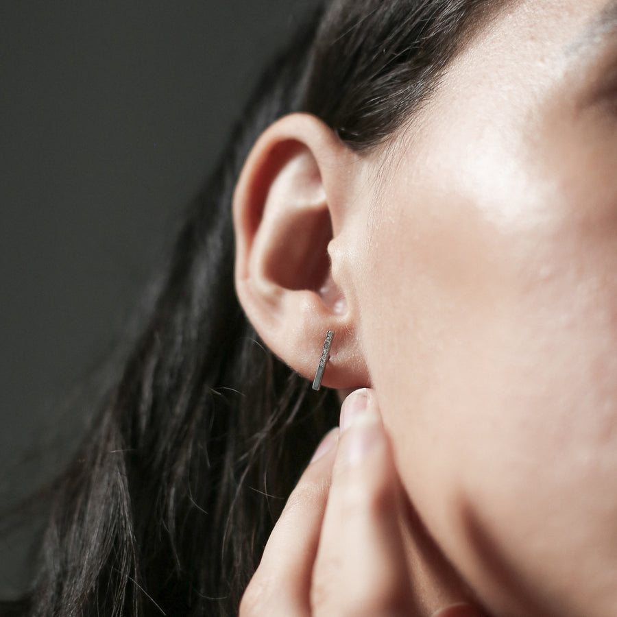 Pave Bar Studs in Sterling Silver on model