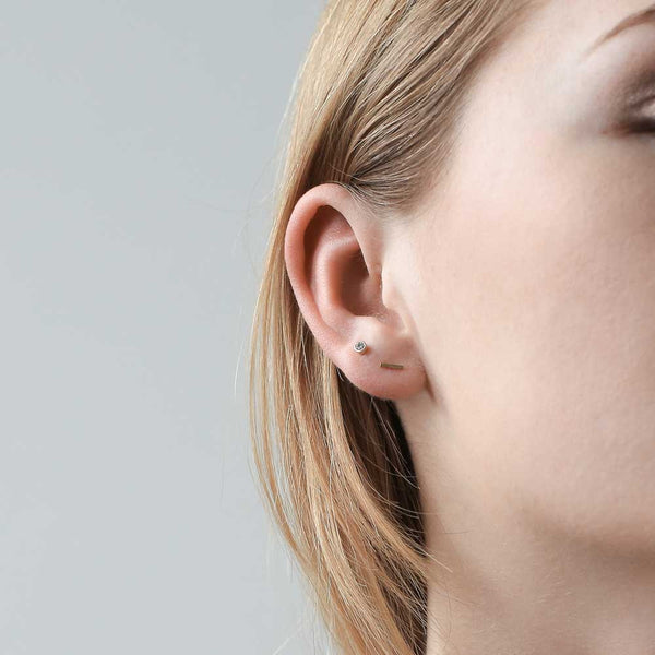 Little Bar Studs - our golden tiny bar stud earrings - Maison Miru Jewelry (@maisonmiru)