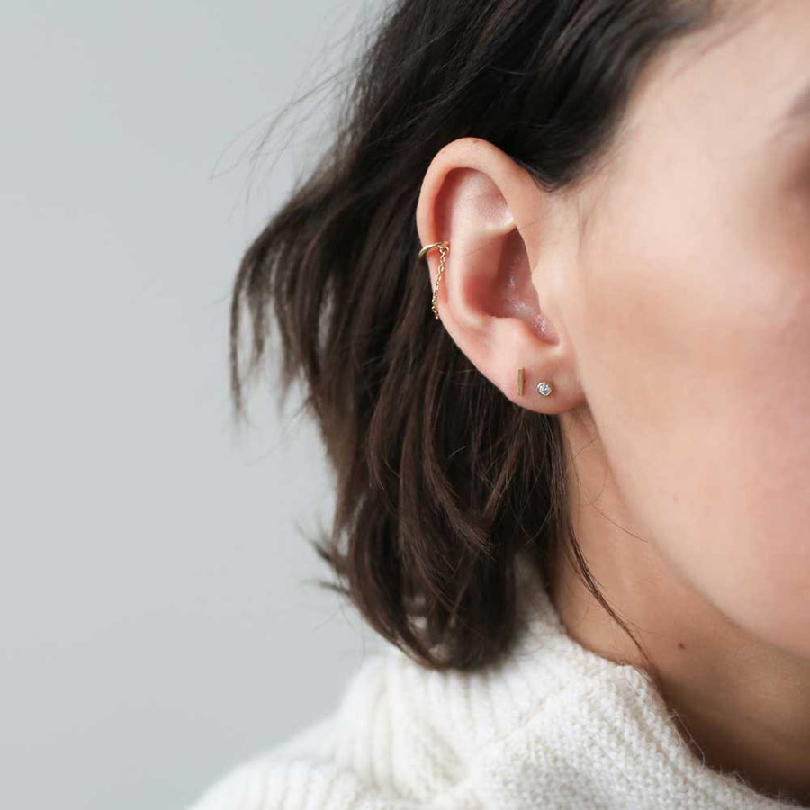 Little Bar Studs in 14k Gold on model