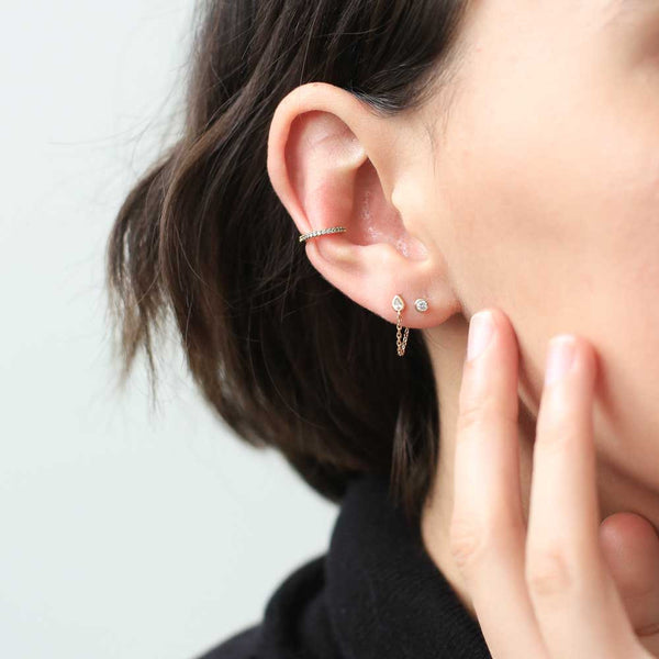 Colette Earrings - tiny dewdrop crystal earrings with a seductively delicate little chain - Maison Miru Jewelry (@maisonmiru)