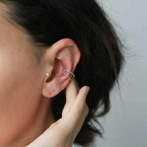 Tiny Trinity Push Pin Flat Back Earring in Gold on model