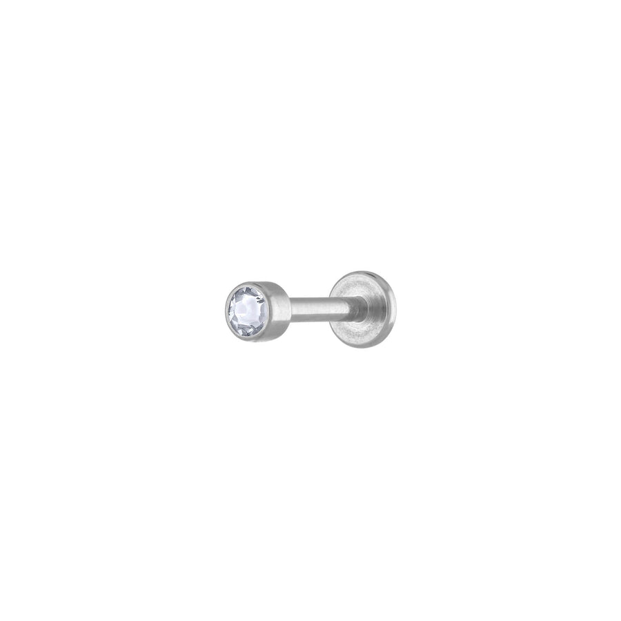 Tiny Crystal Threaded Flat Back Earring in Silver