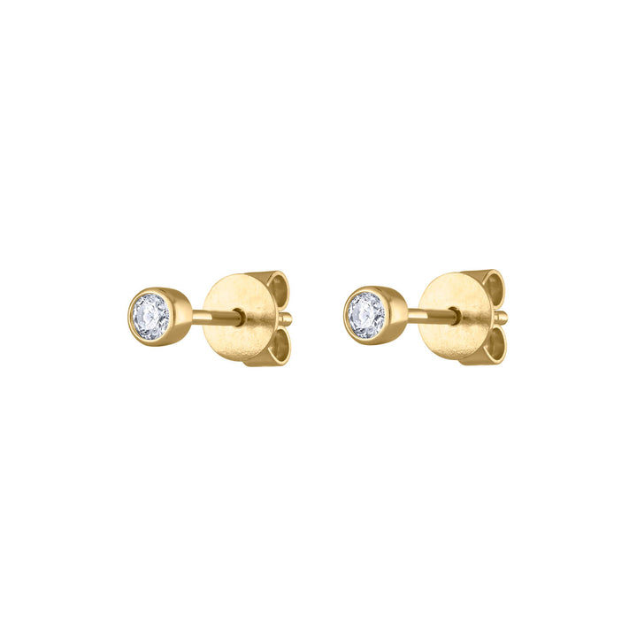 Tiny Diamond Studs in 14K Gold