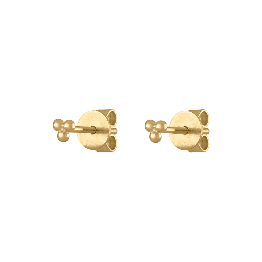 Tiny Trinity Studs in 14k Gold