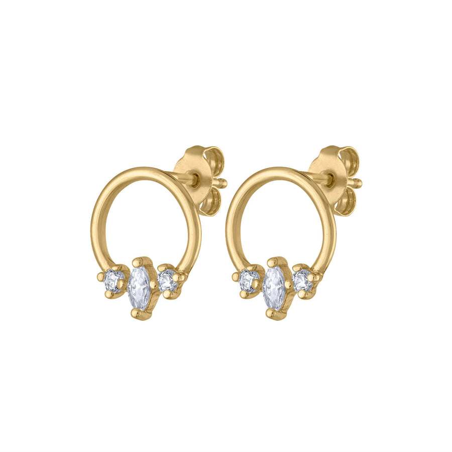 Trinity Orbit Studs in Gold Vermeil at Maison Miru Jewelry @maisonmiru
