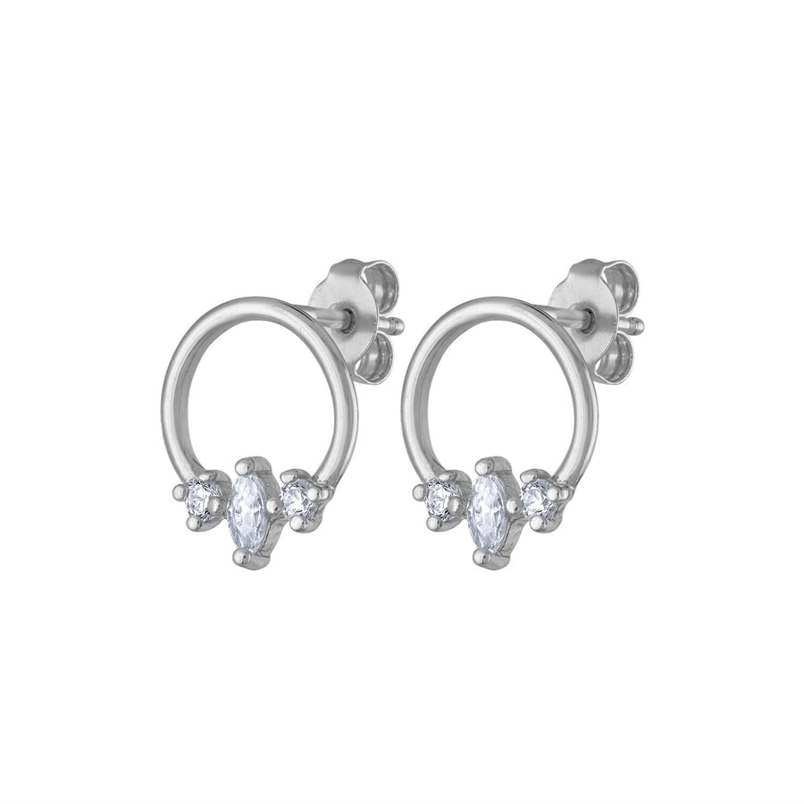 Trinity Orbit Studs in Sterling Silver at Maison Miru Jewelry @maisonmiru
