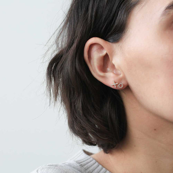 Pave O Studs - our golden tiny pave O-shaped stud earrings - Maison Miru Jewelry (@maisonmiru)
