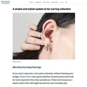Mini Eternity Hoop Earrings in Sterling Silver as seen on Business Insider