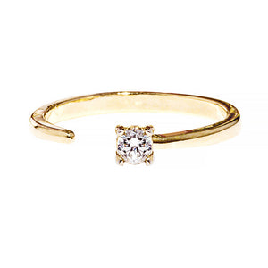 Callie Ring - open adjustable size ring with a minimalist crystal prong setting - Maison Miru Jewelry @maisonmiru