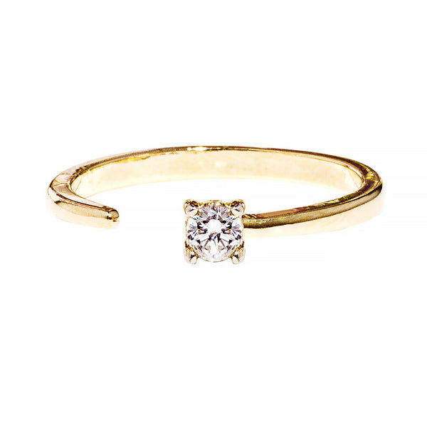 Callie Ring - open adjustable size ring with a minimalist crystal prong setting - Maison Miru Jewelry (@maisonmiru)
