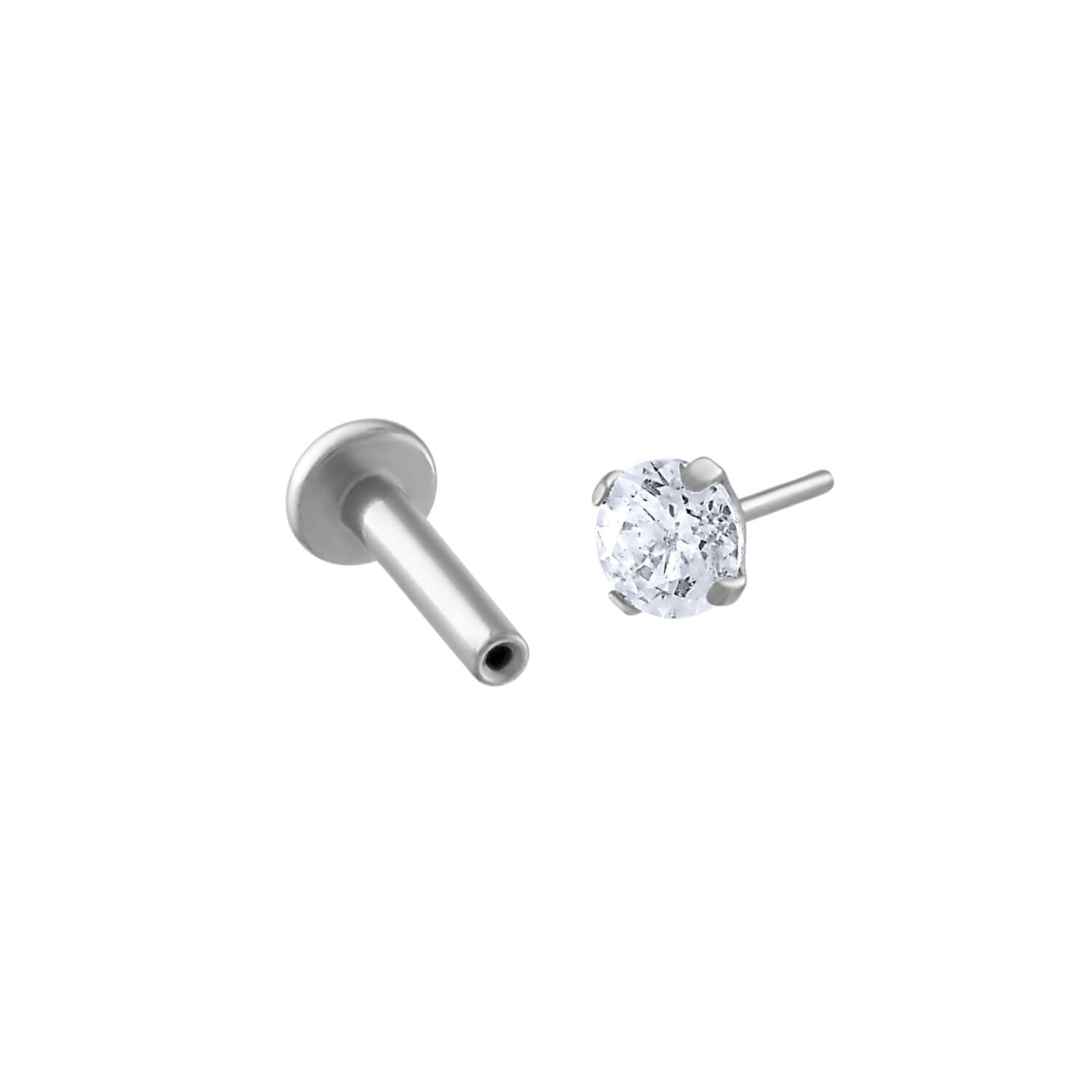 Celestial Crystal Push Pin Flat Back Earring in Silver