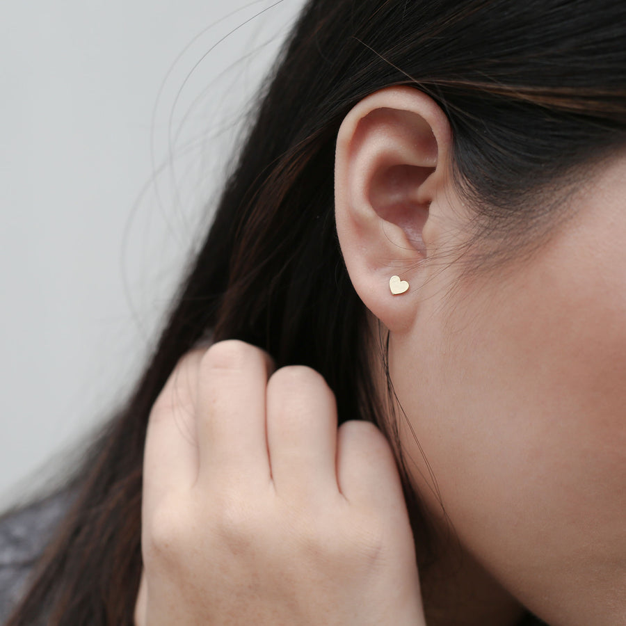 Classic Heart Studs on model