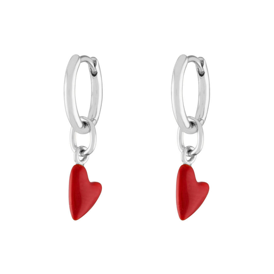 Itty Bitty Red Heart Huggies in Sterling Silver