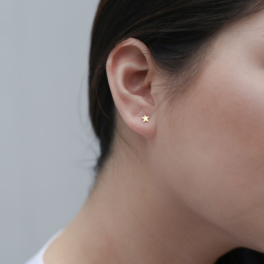 Classic Moon and Star Studs on model