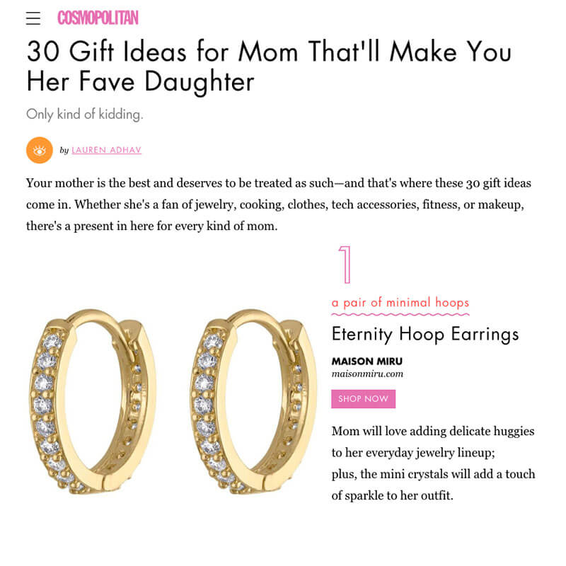 Eternity Hoop Earrings as seen on Cosmopolitan