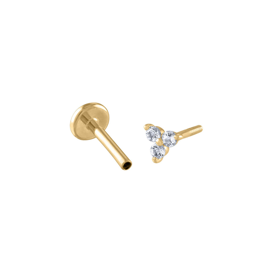 Crystal Trinity Threaded Flat Back Earring in 14k Gold