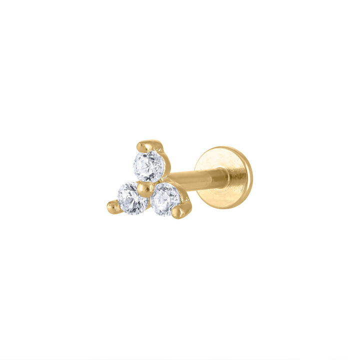 Crystal Trinity Threaded Flat Back Earring at Maison Miru Jewelry @maisonmiru