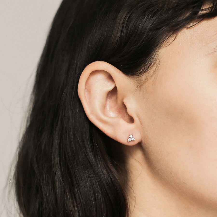 Crystal Trinity Studs on model