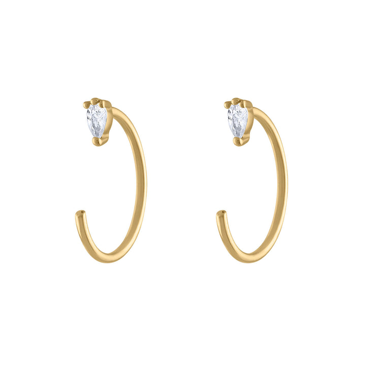 Dewdrop Huggie Earrings in 14k Gold