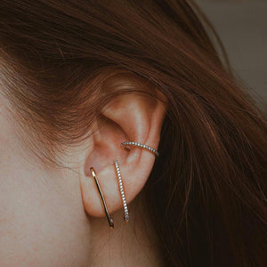 Celestial Suspender Earrings in Gold Vermeil on model