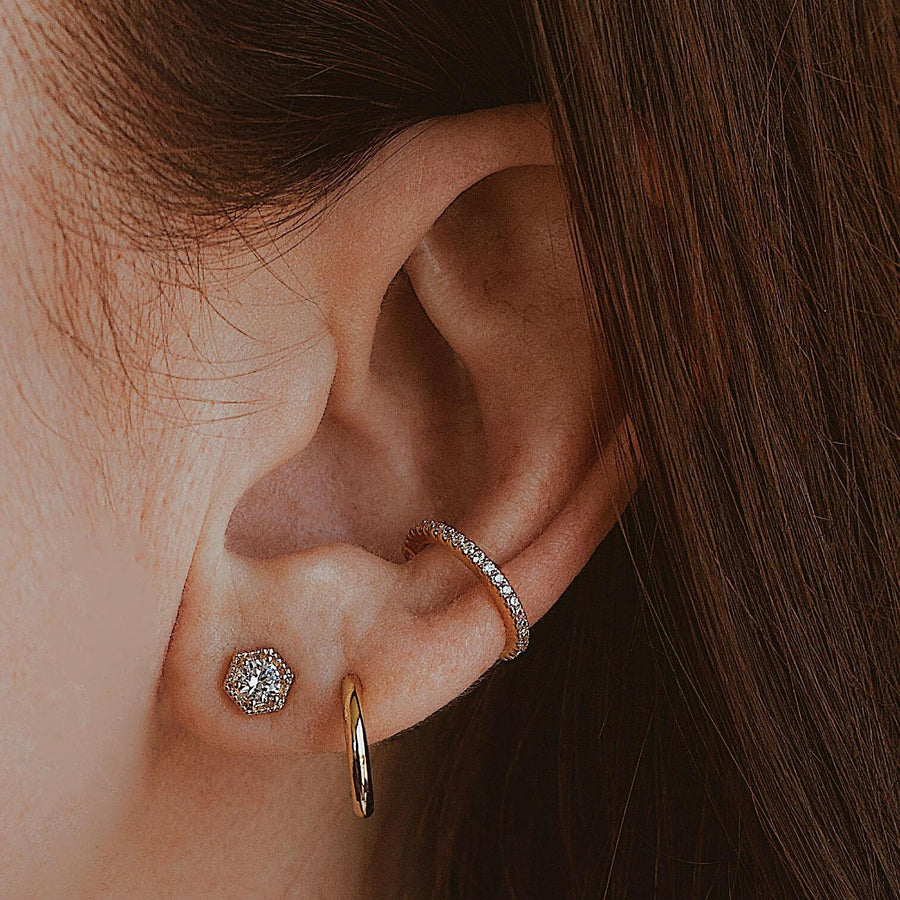 Eternity Arc Ear Cuff on model
