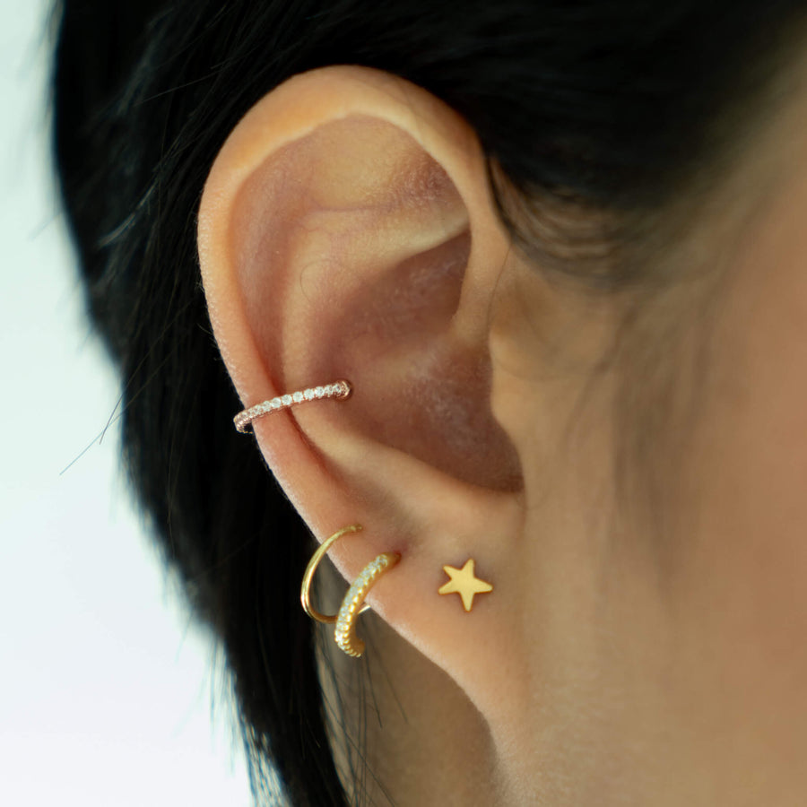 Eternity Arc Ear Cuff in Rose Gold on model