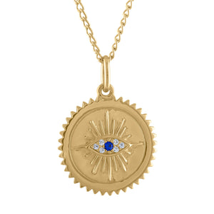 Evil Eye Medallion Necklace in Gold