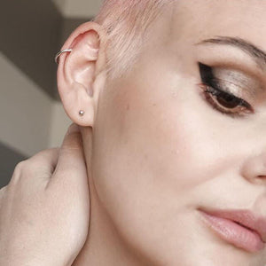 Classic Arc Ear Cuff in Sterling Silver on model