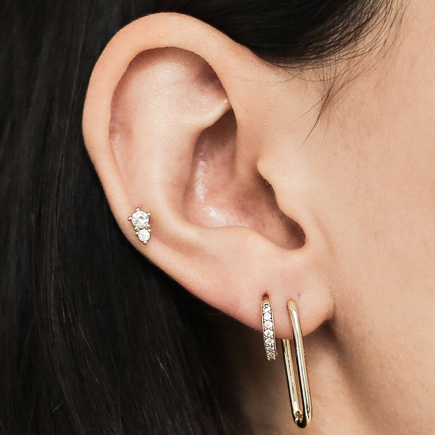 Gaia Push Pin Flat Back Earring in Gold on model