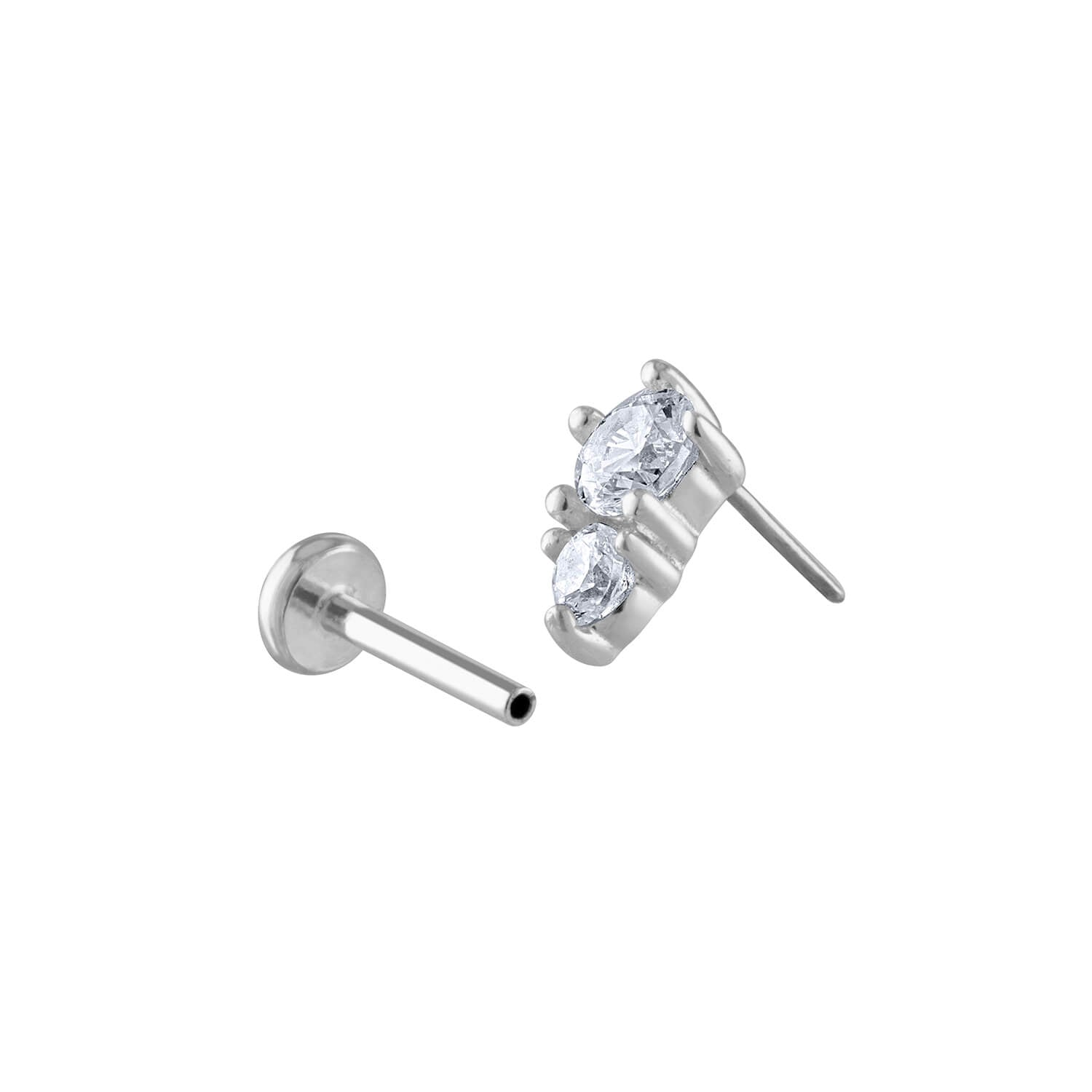 Gaia Push Pin Flat Back Earring in Silver