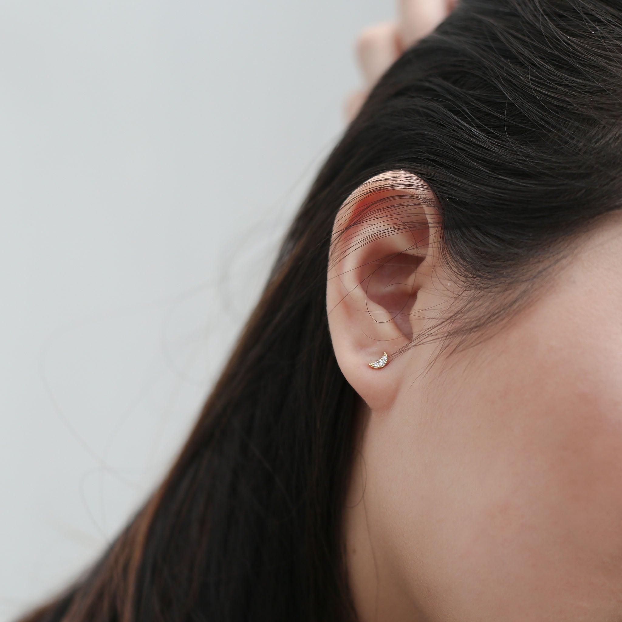 Pave Moon Studs on model