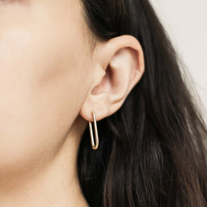 Halo Oval Hoop Earrings on model