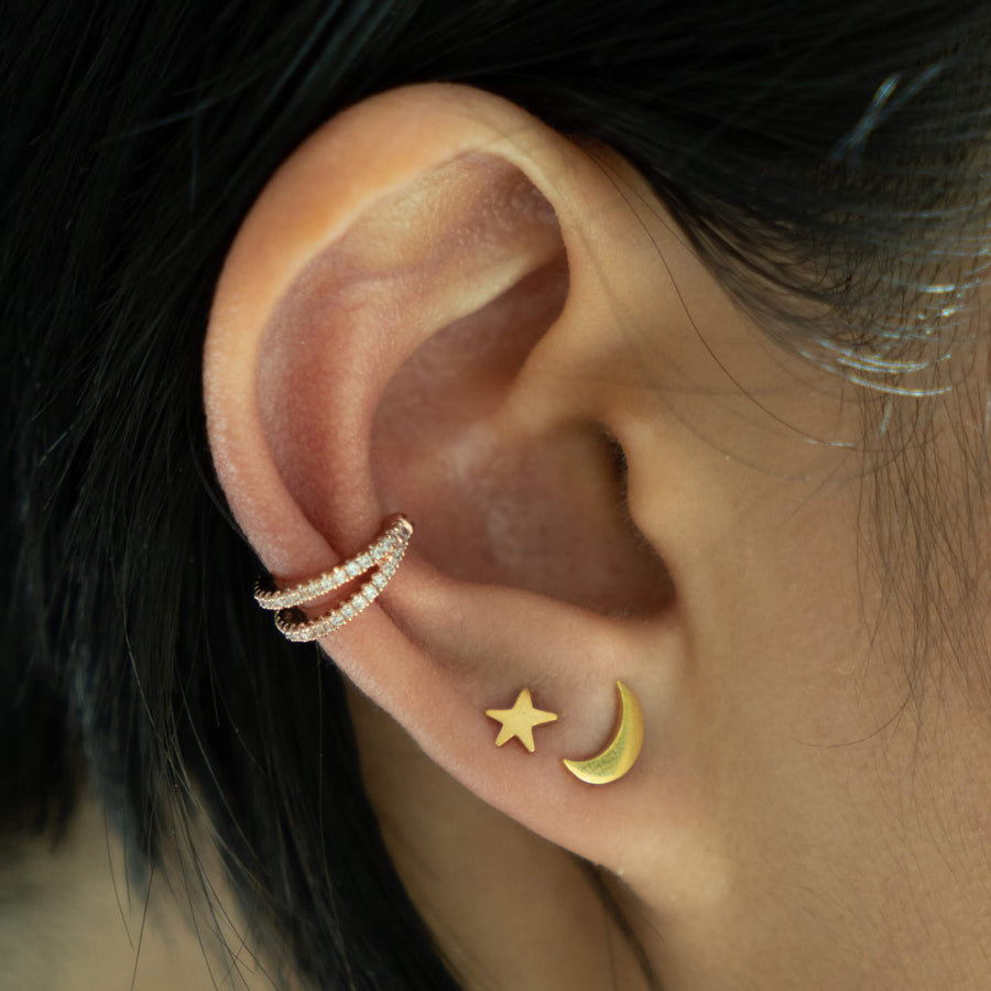 Infinite Ear Cuff in Rose Gold on model