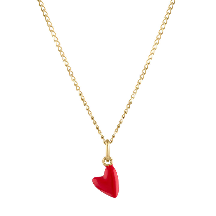 Itty Bitty Red Heart Charm Necklace in Gold
