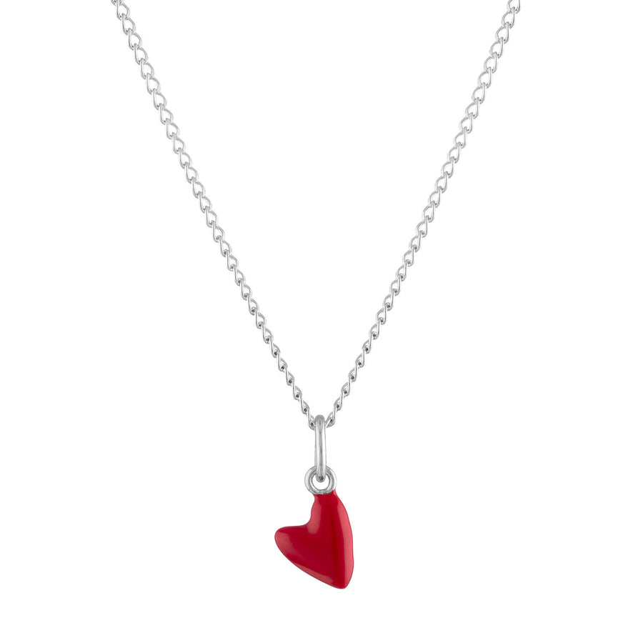 Itty Bitty Red Heart Charm Necklace in Sterling Silver