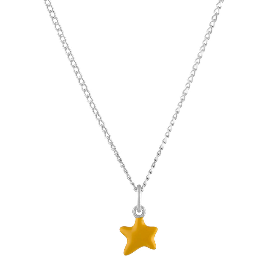 Itty Bitty Yellow Wishing Star Charm Necklace in Sterling Silver