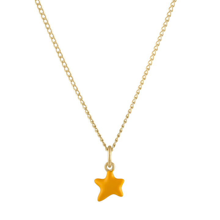 Itty Bitty Yellow Wishing Star Charm Necklace in Gold