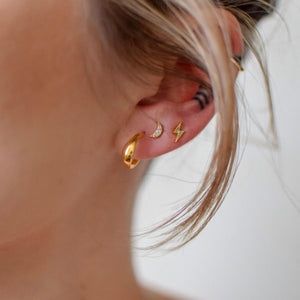 Luna Hoop Earrings in Gold Vermeil on model