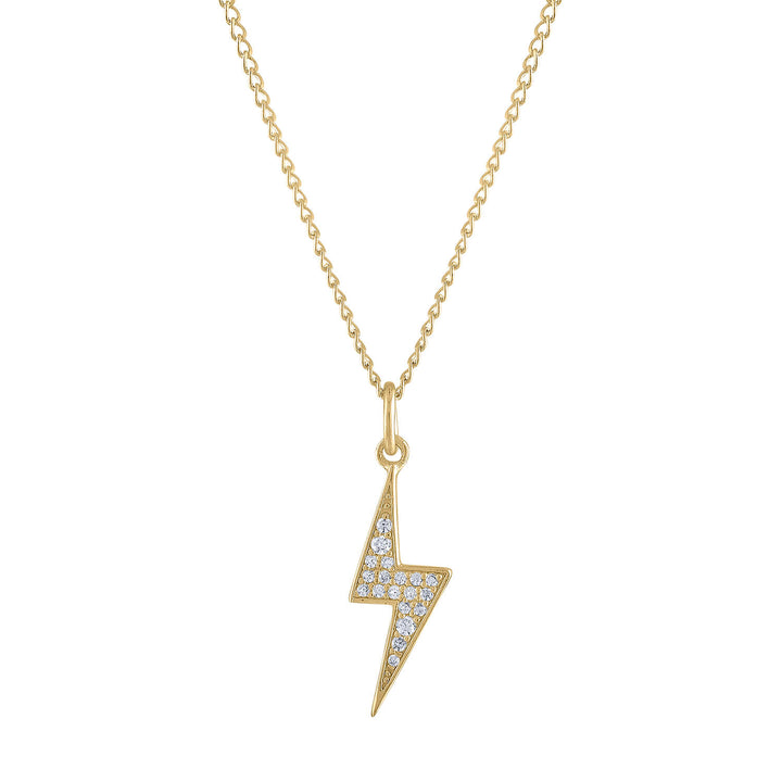Pave Lightning Charm Necklace in Gold
