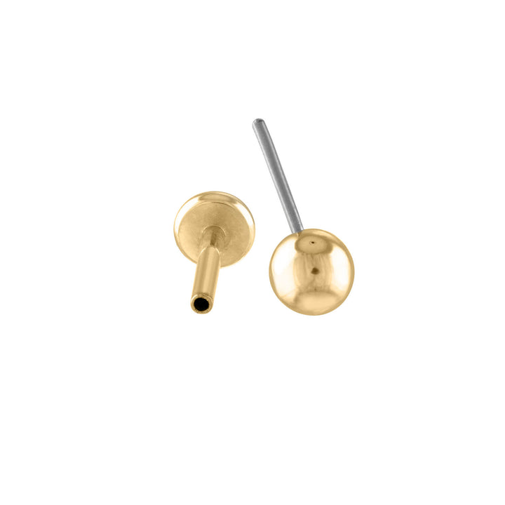 Little Sphere Push Pin Flat Back Earring in Gold