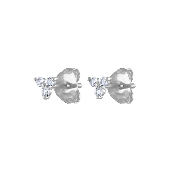 Mini Crystal Trinity Studs in Sterling Silver